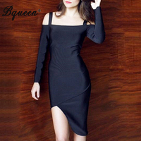 HEGO New Arrival Autumn Winter Long Sleeve Solid Asymmetrical With Straps Off The Shoulder Bandage Dress