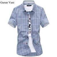 100 Cotton Mens Dress Short Sleeve Shirts Fashion Casual Slim Fit Plaid Men Shirts Brand Clothing
