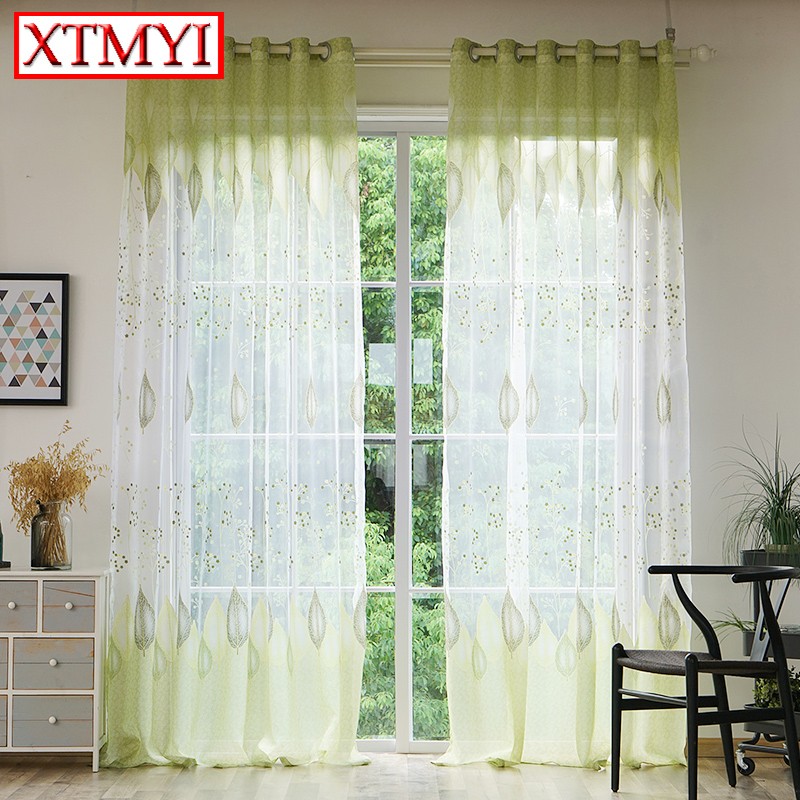 Green And White Kitchen Curtains: Modern Green Leaves Tulle Window Kitchen Curtains For