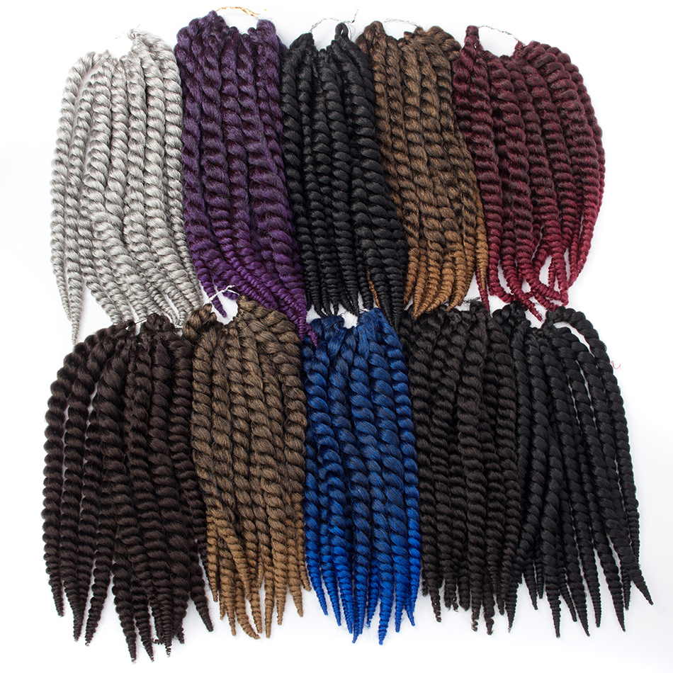 QP hair 2X Havana Twist 12 Roots Crochet Braids 14 18 22 inch Synthetic Hair Extensions 8 Pure Colors For Black Women