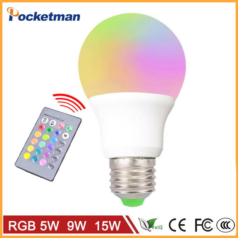 LED RGB Bulb Lamp E27 E14 AC85-265V 5W 9W 15W LED RGB Spot Blubs Light Magic Holiday RGB lighting+IR Remote Control 16 Colors agm rgb led bulb lamp night light 3w 10w e27 luminaria dimmer 16 colors changeable 24 keys remote for home holiday decoration
