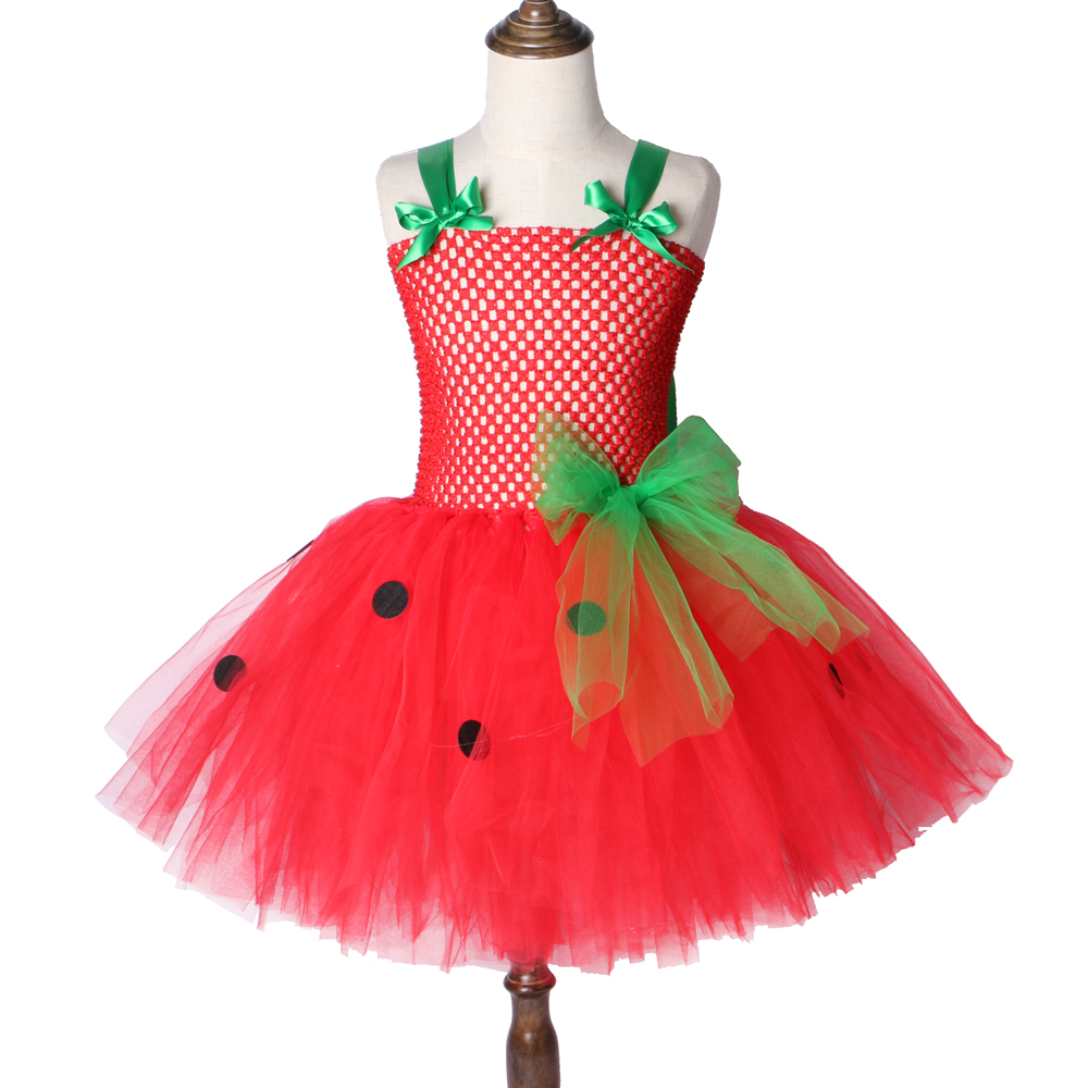 Strawberry Girls Tutu Dress Red Green Tulle Children Girl Party Dress Kids Birthday Christmas Halloween Costume For Girls 2-12Y handmade girls tutu dress flower girl dresses halloween costume children kids tulle dress for pageant party prom photo vestidos