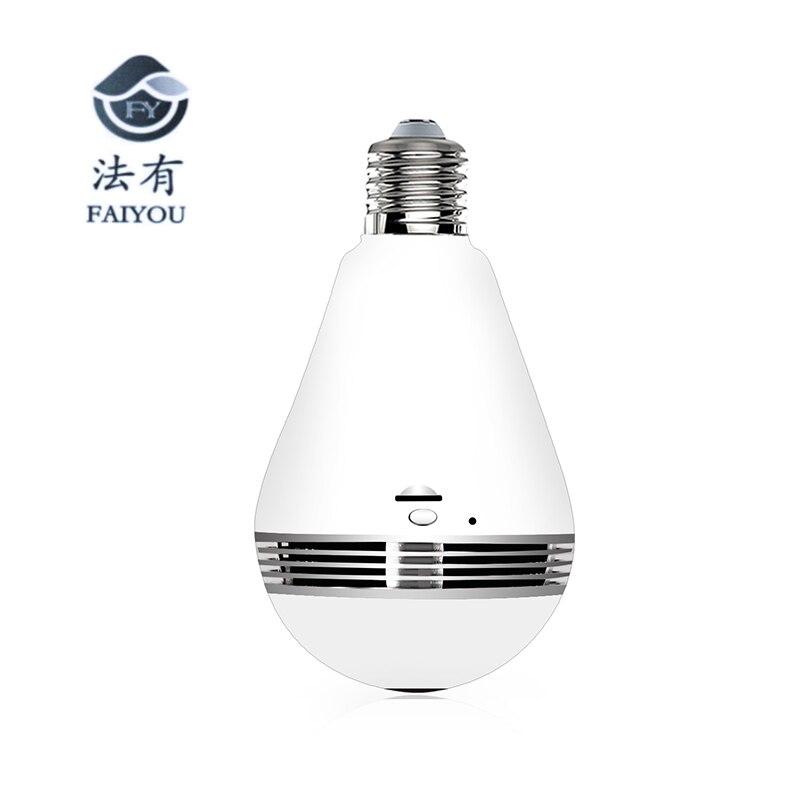 Ampoule lampe sans fil IP caméra Wifi 3MP réseau panoramique FishEye sécurité à domicile caméra de vidéosurveillance 360 degrés Vision nocturne soutien 128 GB