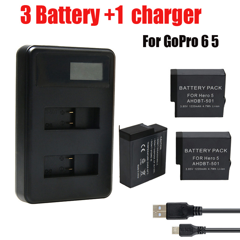 3Pcs battery Go Pro Hero 5 6 Bateria + USB LCD Dual Port Charger for GoPro Hero5 6 AHDBT 501 601 For GoPro Camera accessories 3pc for gopro 2018 gopro hero 5 battery 1600mah gopro 6 7 battery usb battery charger type c for gopro hero5 black accessories page 3 page 6 page 9 page 10