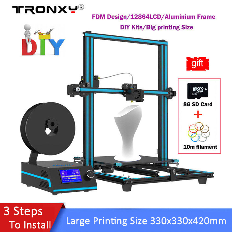 Tronxy Upgrated 3D Printer DIY Kit Large Size 330*330*420mm Quick installation extrude High Quality Dual Z-axis Lead Screw Motor tronxy x3s 330 x 330 x 420mm fast installation 3d printer