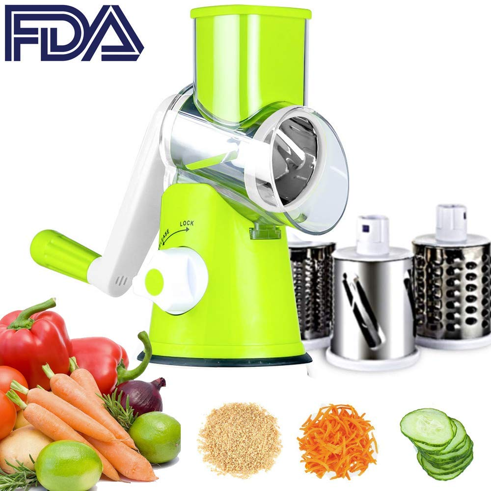 Vegetable Slicer Cheese Grater Rotary Rotary Drum Grater 3-Blades Manual Vegetable Mandoline Chopper With Suction Cup