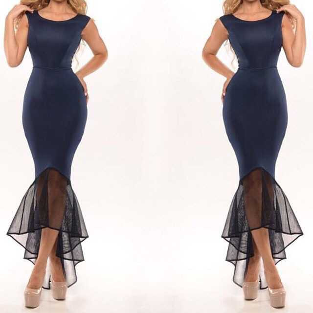 2015 New Arrival Mermaid Prom Dresses Chiffon Cheap Navy Blue Long Evening yk1A146