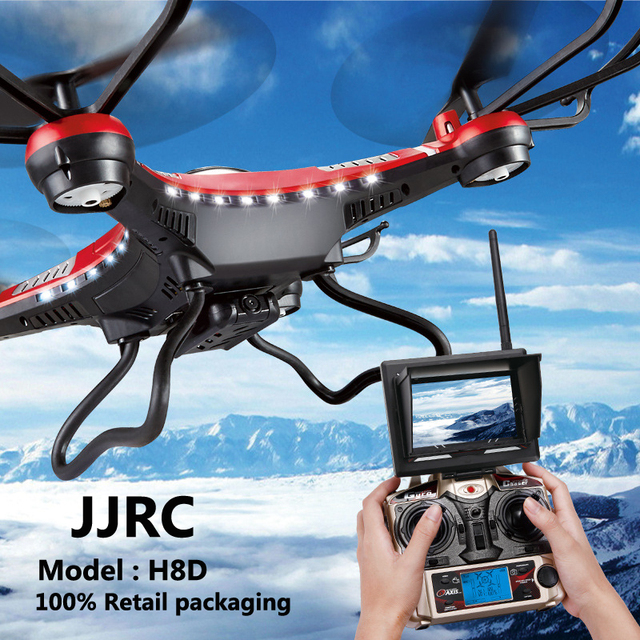 Jjrc h8d retail verpakking 5.8g real-time afstandsbediening helikopter fpv 4ch 6-assige gyro rtf vliegtuigen drone hd camera quadcopter