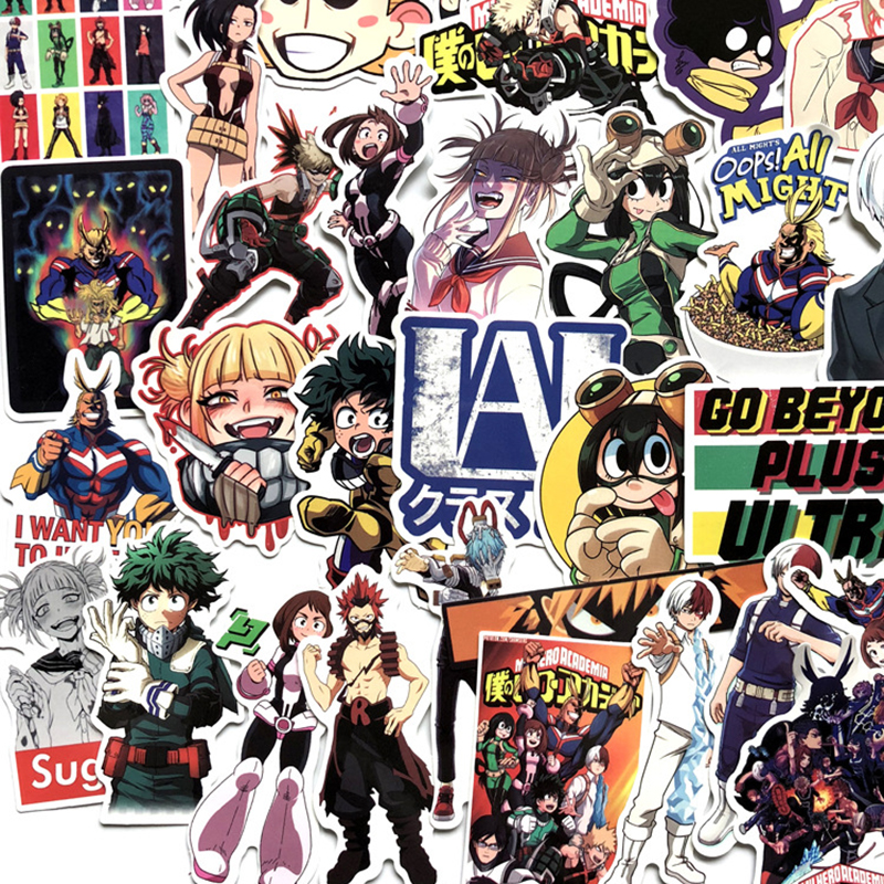 70pcs/pack My Hero Academia Anime Sticker Skateboard Waterproof Trolley Case Laptop Skateboard Stickers Toys Gifts For Kids F5