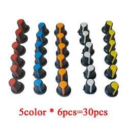 30 шт./лот WH148 потенциометра Ручка крышки (медный) 15X17 мм 6 мм вал отверстие AG2 желтый оранжевый сине-белые красный 5value * 6 шт. = 30 шт