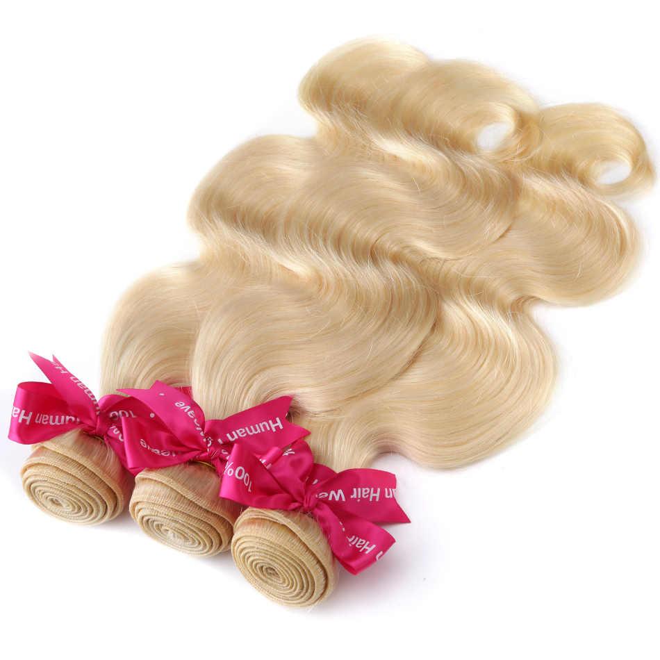 Luvin Brazilian Remy Hair Body Wave 1 3 4 Bundles 613 Blonde Hair Unprocesse Human Hair Weave Bundles Hair Extensions 30 inch