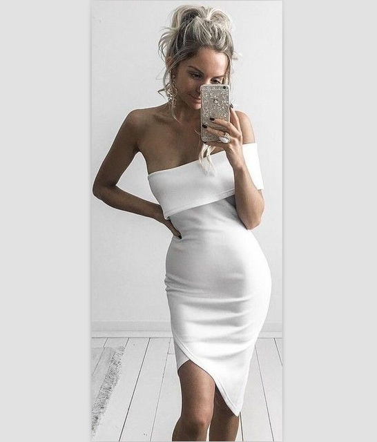 2017 Summer One Shoulder Mini Black White Nude Dresses women fashion sexy  attractive cute elegant midi 6be9f620a