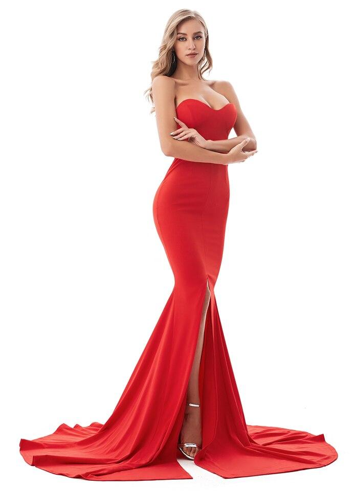 Strapless Split Front  Mermaid Sleeveless Elegant Dress 5