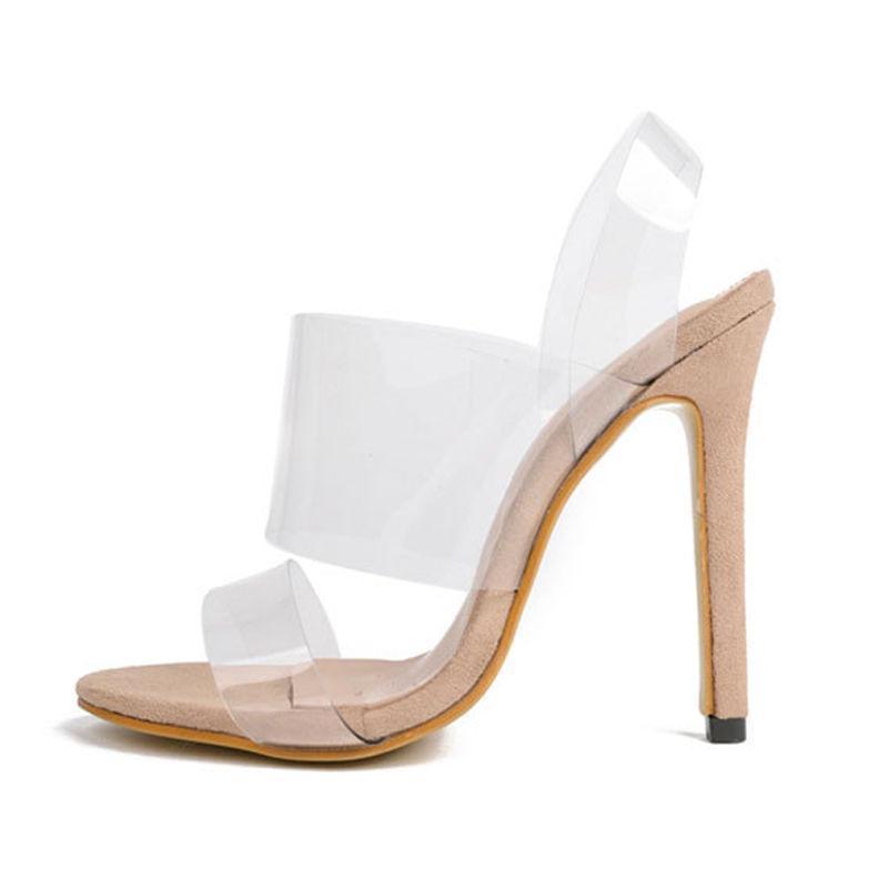 Talon Gelée Sandale De Talons Haute Effacer Transparent A7 Chaussures 12 Toe Cm Femmes Ouvert P6nw87q