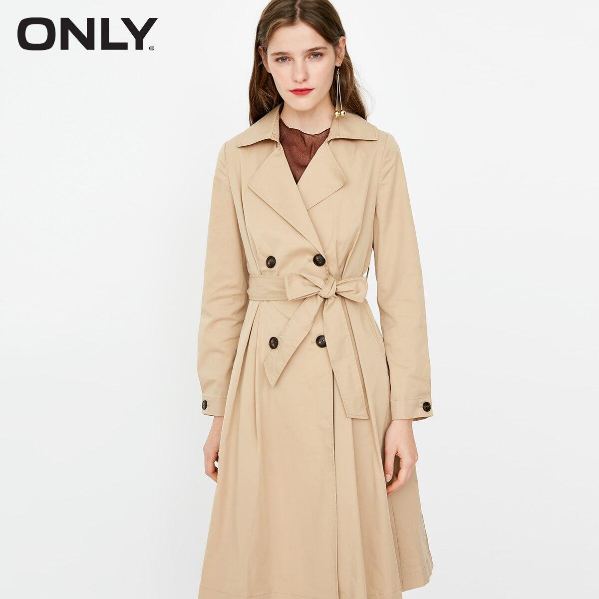 ONLY Autumn New Women's Lapel Khaki Medium Waist Length Wind Coat |118336551