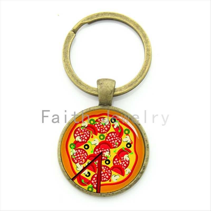 Pribadi 2016 Makanan Lezat Pola Perhiasan Penuh Warna Pizza Gantungan Kunci Makanan Gantungan Kunci Anda Hadiah Khusus KC487