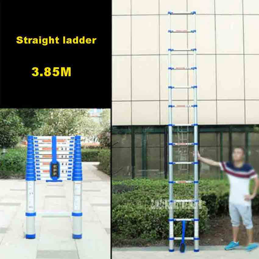 New Arrival 3.85M 13-Step Ladder JJS511 Thicken Aluminium Alloy Single-sided Straight Ladder Portable Household Extension Ladder