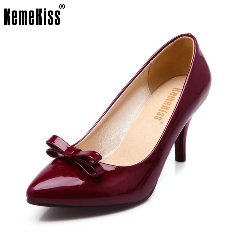 KemeKiss Size 32-48 Sexy Pointed Toe High Heels Women Shoes Bowknot Fashion Spike Heel Pumps Party Wedding Lady Office Footwear купить