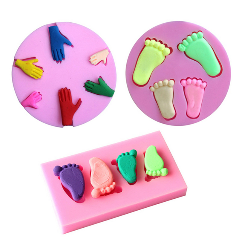 Baby footprint palm shape 3d silicone mold fondant for Baby footprints cake decoration
