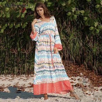 23665aba81e0661 Product Offer. Богемное женское длинное платье 2019 Летние шифоновые пляжные  ...