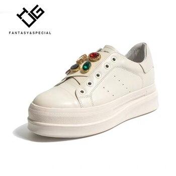 IGU 2019 Women Flat Platform Shoes Rhineston Genuine Leather Females Flat Harajuku Punk Shoes Creeper Girls Botas Mujer Zapatos
