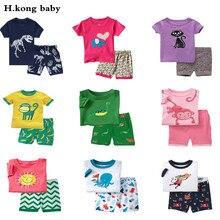 H.kong baby kids Pajamas Set summer children Short Sleeve cotton sleepwear Boys Cartoon pyjamas girls cute home clothing
