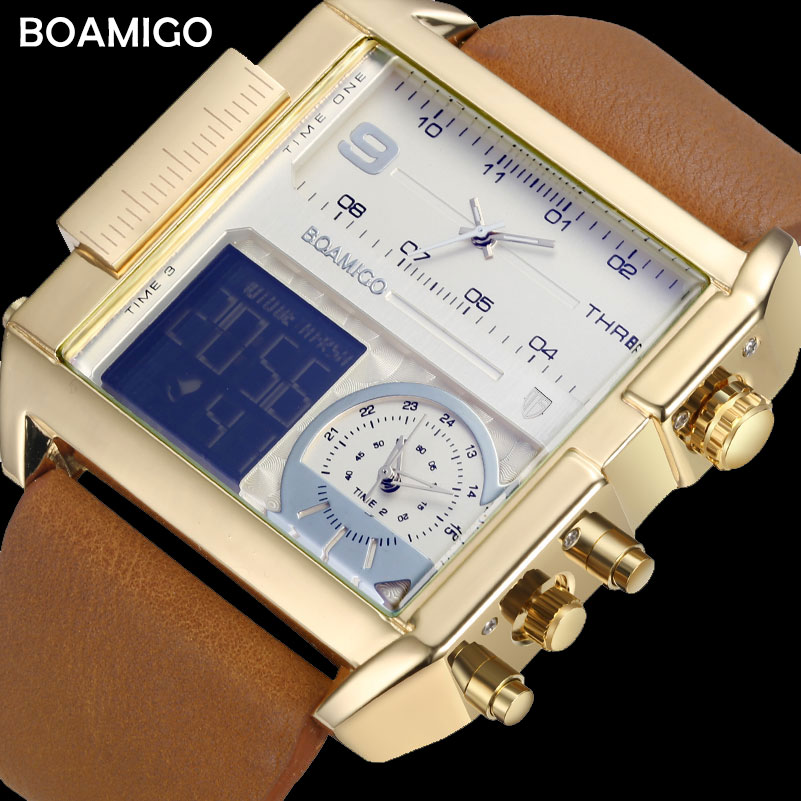BOAMIGO Brand Men Sports Watches Man Military chronograph digital Watch Leather Rectangle Quartz Wristwatches Relogio Masculino boamigo men sports watches brown leather band man military quartz led digital analog casual wristwatches waterproof reloj hombre