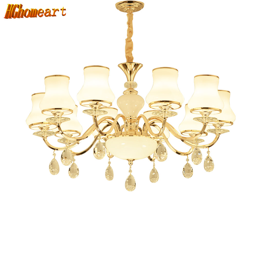 Best buy ) }}HGHomeart Contemporary Retro Chandeliers LED Glass Chandelier Crystals Lamp Suspension Living Room Bedroom