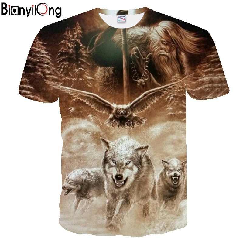 BIANYILONG 2018 Мужская футболка 3D Волк футболка забавная Футболка мужская женская футболка осень лето футболка с коротким рукавом топы с круглым вырезом Прямая поставка