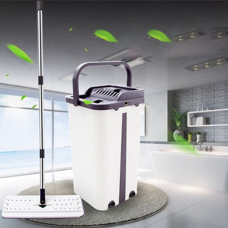 Flat Squeeze Mop And Bucket Hand Free Wringing Floor Cleaning Mop Microfiber Mop Pads Wet Or