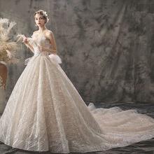 SERMENT New bride luxury wedding dress Hepburn French tailing star network red fairy sleek temperament
