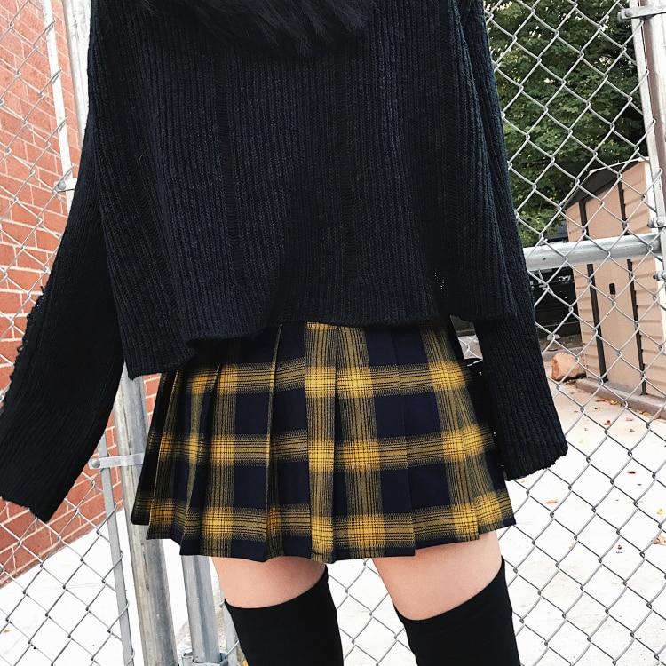 High Waist Female Short Skirt Spring Summer Harajuku Women Fashion Skirts Cute Yellow Black Red Lattice Pleated Skirt Punk Style