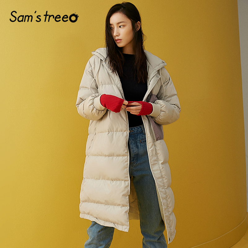 Samstree Winter Women 90% White Duck   Down     Coat   Contrast Color Patchwork Long   Coat   Drawstring Casual Female Thick   Coat   2 Color