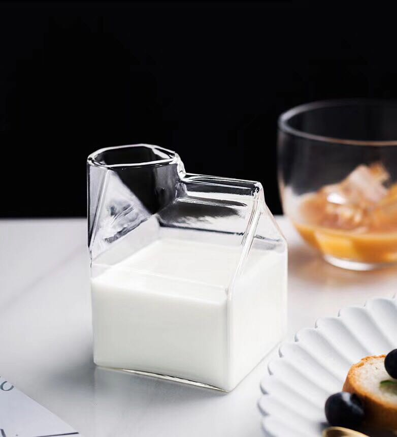 factory direct sale square milk glass milk box glass mug milk box cup