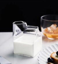 factory direct sale square milk glass milk box glass mug milk box cup
