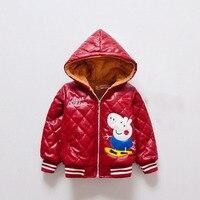 Baby Coat Red Cartoon Pig Jackets For Boys Cute Winter Kids Girls Coat Nice Hooded Plaid