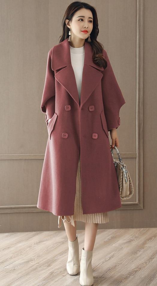 2017 new arrive women woolen long jacket 972