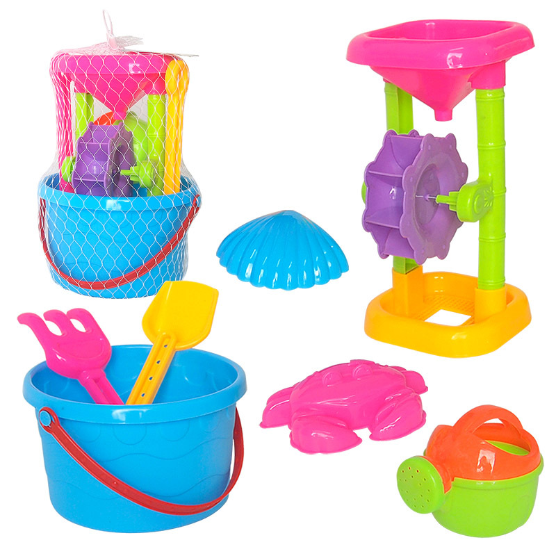 Kids Beach Toy Hourglass Tool Shower With Sand Bucket Outdoor Water Play Toys