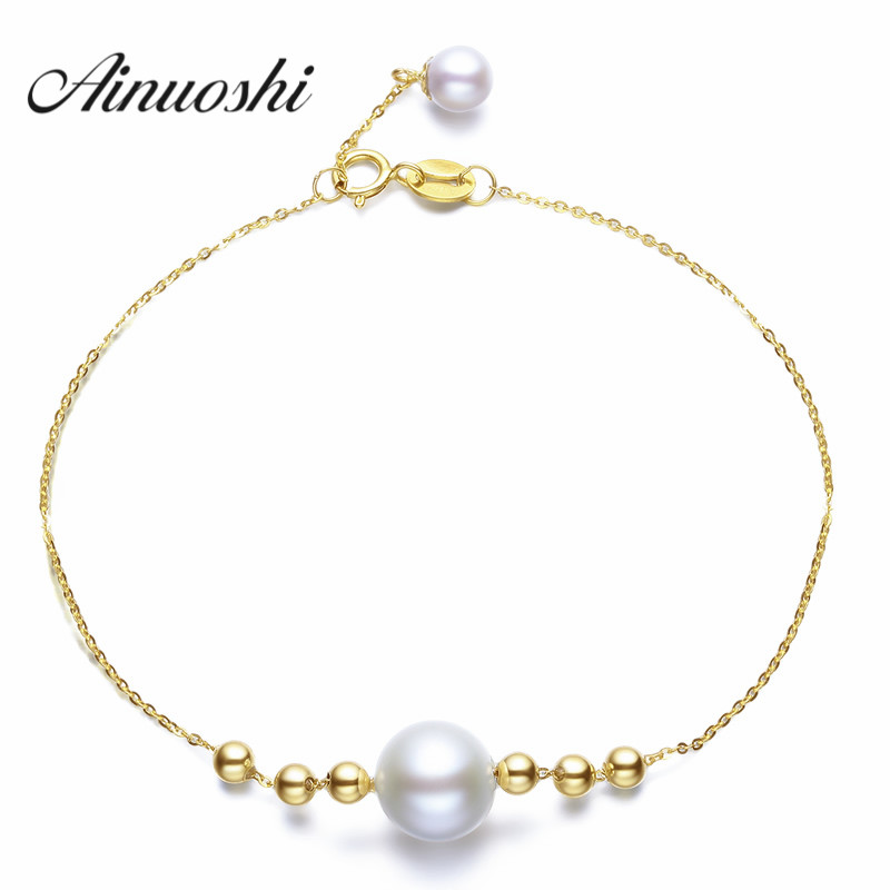 AINUOSHI 18K Yellow Gold Natural Cultured Freshwater Pearl Perfect Round Bracelet for Women Beads Brace lace Wedding Jewelry
