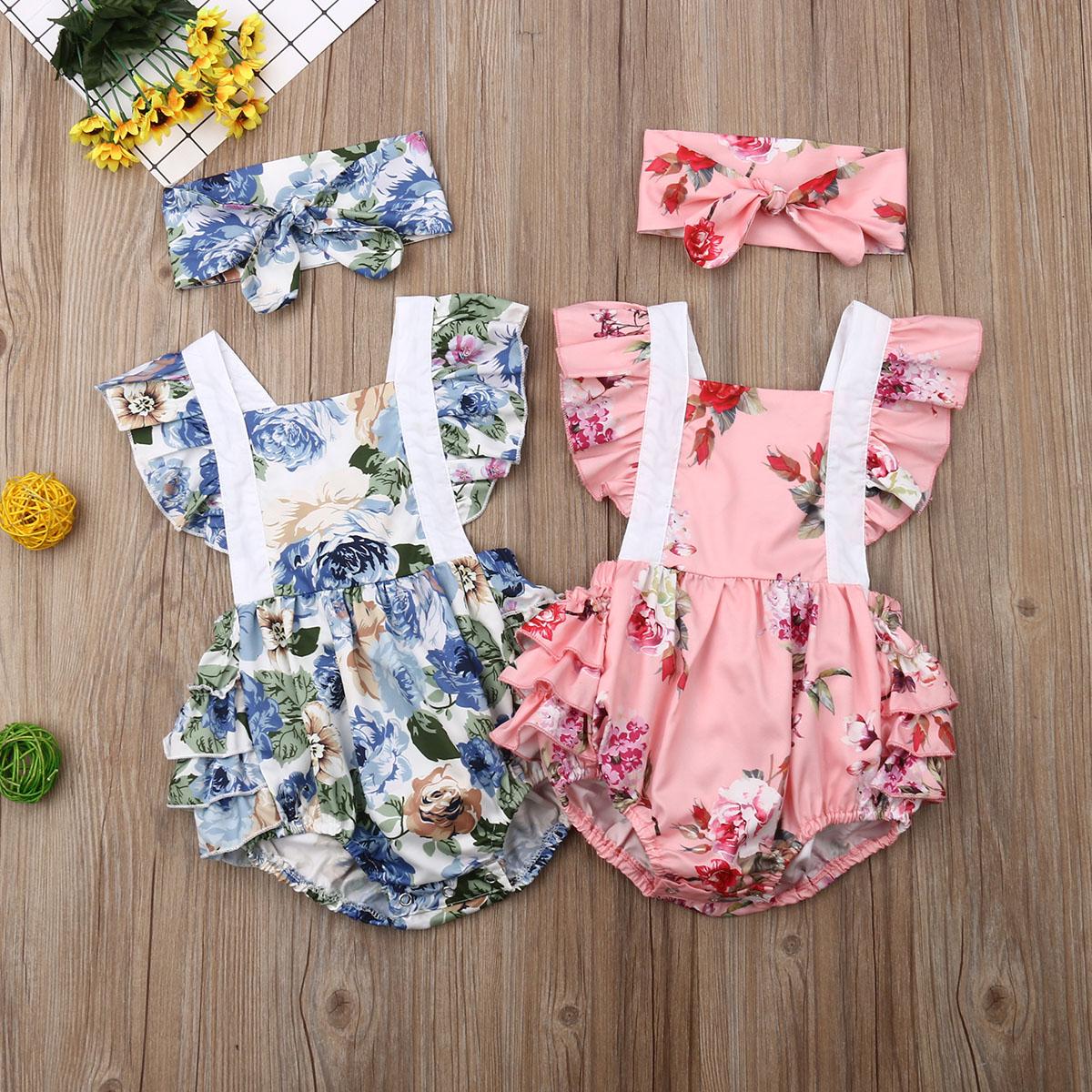 Newborn Cute Baby Bodysuit 2019 Kids Floral Babygrow Summer Clothes Outfit Infant Girl Bodysuit Jumpsuit + Headband Set