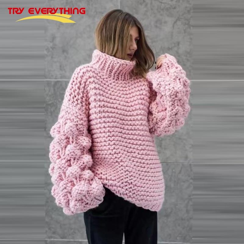 Provare Tutto Dolcevita Donne Maglie e Maglioni e Pullover Inverno 2018 di Colore Rosa Pullover Maglia A Manica Lunga Magliette e camicette Pulover Feminino