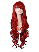 Cosplay Red Wig Fei-Show Synthetic Long Curly Halloween Women Blue Purple Hair Carnival Costume Cosplay Inclined Bangs Hairpiece(China)