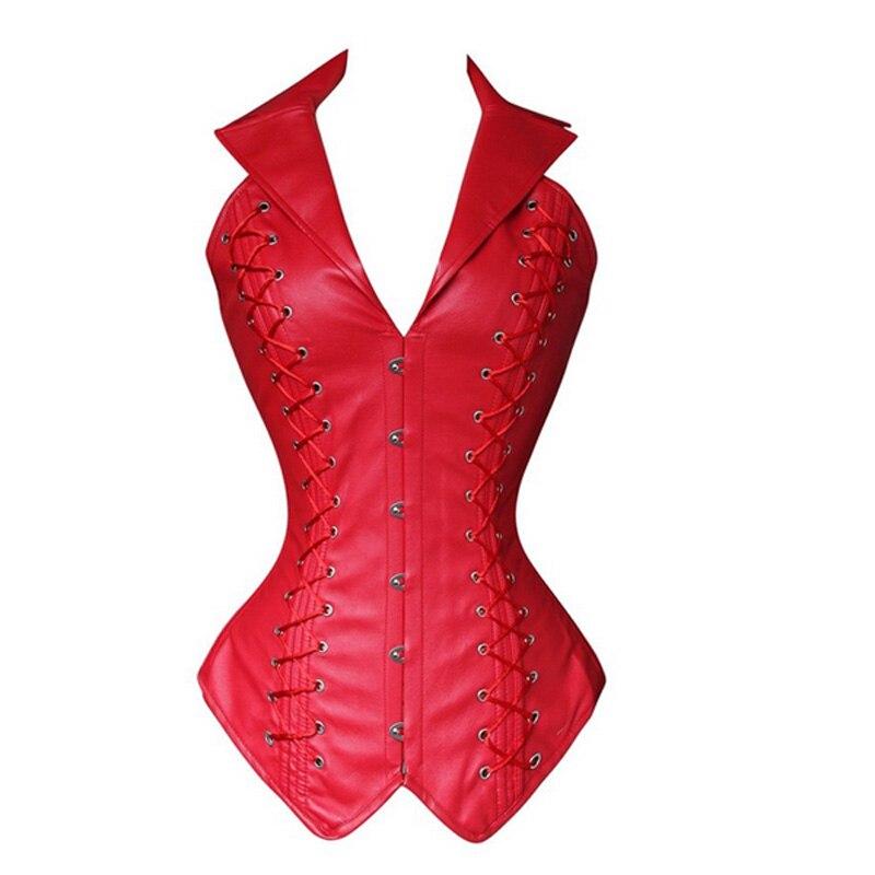Hot rouge PU Goth Punk poitrine liant taille formateur ventre contrôle femmes taille moulante Corsets Cincher minceur Body Shaper