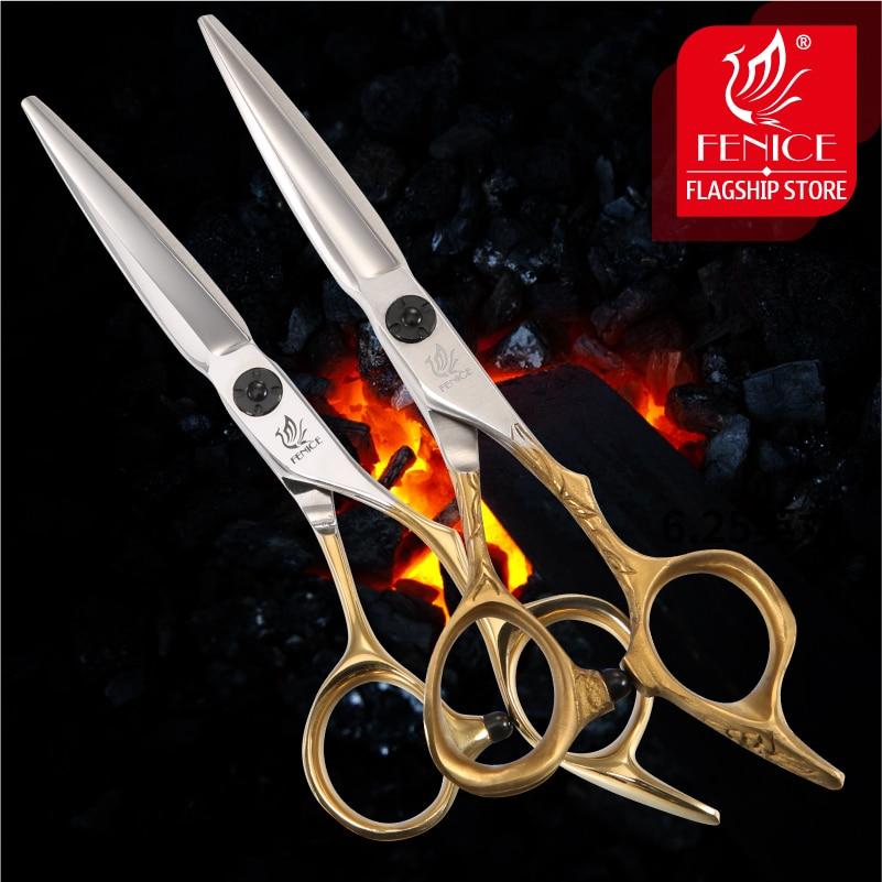 Fenice 5.75 inç saç makas profesyonel saç kesme düz makas Salon altın japonya 440C çelik berber dükkanı berber makas