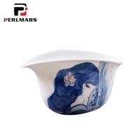 Jingdezhen White Porcelain Cha Hai Vintage Drinkware Hand Painted Ancient Smile Beauty Fair Cup Tea Ceremony Accessories Mugs