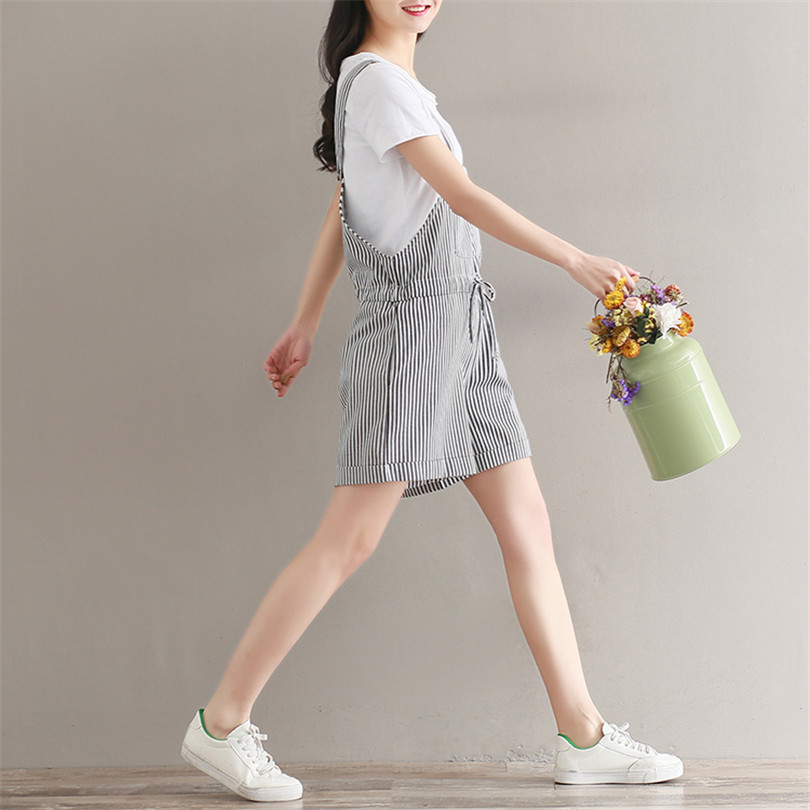 50838d6beac 2018 Summer Women Rompers Clothing Bow Tie Cotton Linen Striped Playsuits  Loose Casual Jumpsuit Short Sleeveless Jumpsuits AB782-in Rompers from  Women s ...