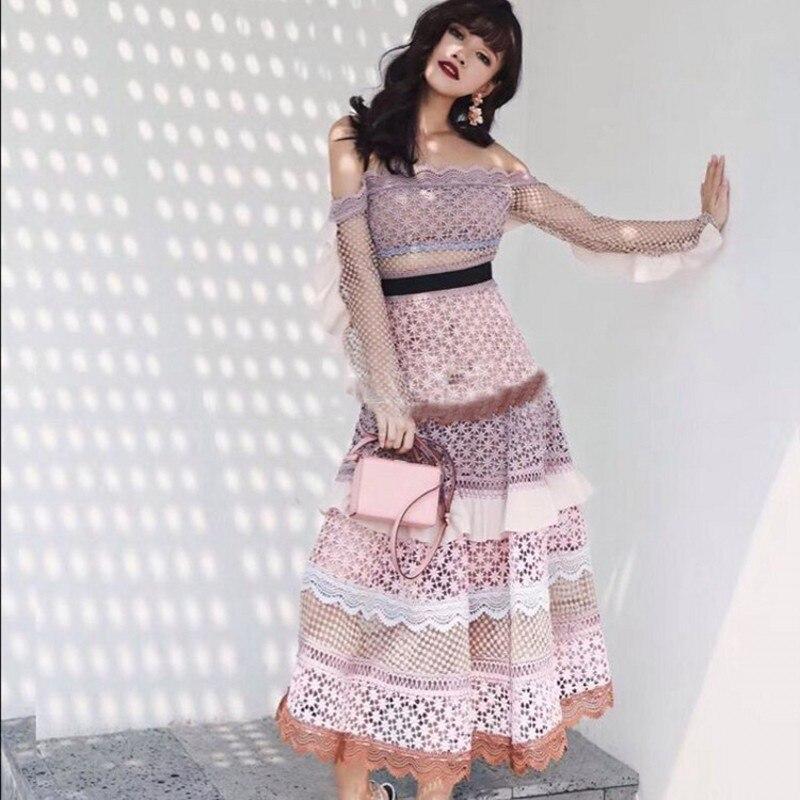 2019 Nouvelle Piste Auto Portrait patchwork chic robe en dentelle midi qualité supérieure sexy femmes Parti Maxi robes Longues robes robes