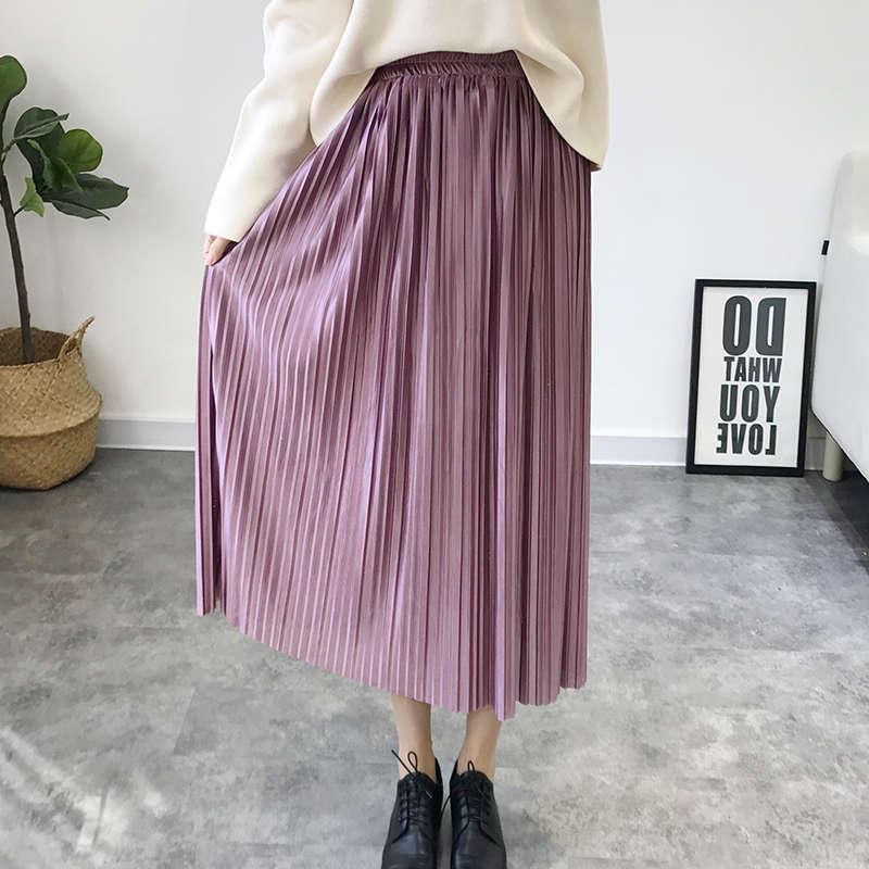 43d28e288 Nueva Falda plisada casual de cintura alta de primavera y verano de 2019  con pliegues de terciopelo ...