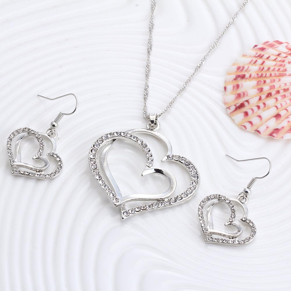 17km Heart Pattern Crystal Earrings Necklace Set Silver Color Chain Jewelry Sets Wedding Valentine S Gift In From