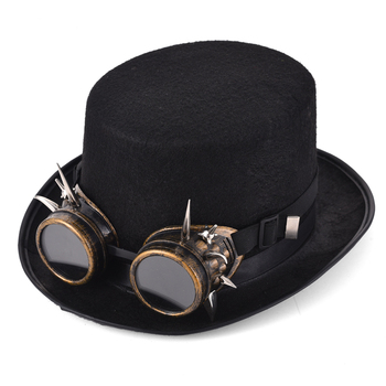 Retro Spikes Goggles Top Hat Punk Steampunk Lolita Cosplay  Rivet Glasses Hat Fedoras Hat Goth 1